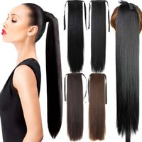 Wholesale Fake Hair Ponytail g quot Long Straight Hair Pieces Drawstring Ribbon Hairpiece Clip In Pony Tail Hair Extensions Multicolor