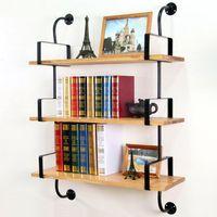 iron shelf bracket - Retro imitation wood wrought iron wall shelf shelving creative support bracket wall mount bracket bookshelf