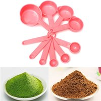 Wholesale 10Pcs Plastic Measuring Spoons Cups Tablespoon Set Tools For Baking Coffee for Pink
