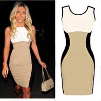 Cheap Europe United States style Celebrity women nightclub sexy sleeveless Patchwork dresses fashion bandage dress