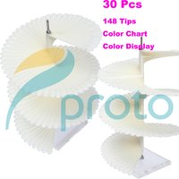 Wholesale 30pcs New Tips Transparent Clear Nail Polish Display Show Nail Art Stick Color Chart Card Spiral Holder Tool F0223X30