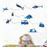airplane cartoons - Airplane Shape Wall Sticker Cartoon Kids Room Kindergarten Decoration wallpaper HDE_008