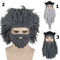 Wholesale 8 Styles New Men Women Winter Knitted Woolen Hat Handmade Tassels Whiskers Pirate Hats Big Beard Novelty Beanies Hip Hop