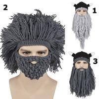 Beanie/Skull Cap adult beard - 8 Styles New Men Women Winter Knitted Woolen Hat Handmade Tassels Whiskers Pirate Hats Big Beard Novelty Beanies Hip Hop
