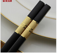 Wholesale High grade family Korea Japanese hotel alloy chopsticks Creative chopsticks Hotel dining chopsticks Gold Silver Black chopsticks