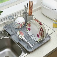 Wholesale Single wire stainless steel kitchen dish rack shelving metal cutlery dishes dry place storage rack Drain
