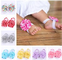 Unisex baby foot design - 2015 New cm waves design baby foot strap flower hair band colors for choose baby Barefoot Sandals