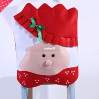 Wholesale 2014 christmas Mr Mrs Santa Claus Christmas Kitchen cm Chair Covers dining chairs covers Banquet Chair covers