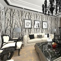 background black - Abstract Tree Branches Wallpaper Roll D Modern vinyl Wall Paper for Living Room TV Background Wall Home Decor White woods WP222