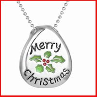anniversary paintings - 2016 Merry Christmas necklace Alloy oil paintings letter Merry Christmas pendants necklaces for men women kids Christmas jewelry gift