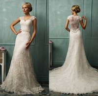 Wholesale 2016 Vintage Sheer Lace Wedding Dresses Bit V Neck Short Capped Sexy Back A Line Chapel Train Beaded Bridal Gowns