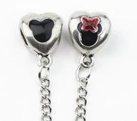 Wholesale European Silver Safety Chain charm Bead DIY Mickey bead Fit Pandora Bracelets Bangles