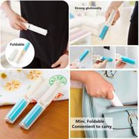 achat en gros de brosse à charpie lavable-1 x Lavable Lint Poussière Détartrant Tissu Sticky Roller Brush Cleaner Folding NOUVEAU