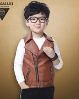 kids leather jackets - 2015 New Children Boys Korean Style Autumn Turn down Collar PU Leather Waistcoat Kids Fashion Waistcoat B3722