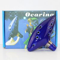 alto flute - Legend of Zelda Blue Ceramic Clay Zelda Ocarina Flute of Time Holes Alto C Flute Orcarina Musical Instrument