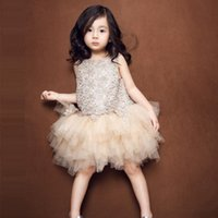 beautiful gift images - Cute Beautiful Princess Dresses Tiers Tulle Skirt Flower Girls Dresses Toddler Champagne Color Knee Length Children Festivals Gift