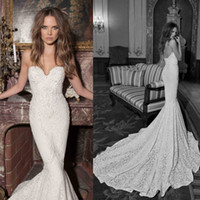 Cheap 2015 Summer Berta Lace Mermaid Style Wedding Dresses Sheer Chapel Train Custom Made Bridal Gowns Beads Vestidos De Noiva