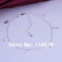 Cheap Fashion Jewelry 925 Silver Anklet Figaro Chain Pentacle Star Pendant Anklets Ankle Bracelet High Quality Factory Price MDA005