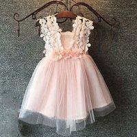 crocheted dress - Girl Dress Cute Dresses Princess Dress Children Clothes Kids Clothing Summer Dresses Ruffle Tulle Dress Crochet Flower Dresses C18835