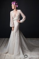 ali flowers - Rami Al Ali Wedding Dresses Luxury Vintage Fashion Plus Size Wed Gowns Custom Made Modern Formal Capped Long Sleeves Sexy Wedding Dress