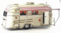 antique money banks - Cute White Touring Car Camper Trailer Motorhome Model Money Bank handmade antique metal craft home office bar decoration gift