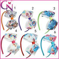 Wholesale New Frozen hair bow ribbon Children Hair Accessories Fashion Princess bows Hair Bands Boutique Headwear Baby Girls Cute Headbands
