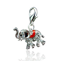 Wholesale Latest Fashion Floating Charms Alloy Rhinestone Elephant Lobster Clasp Charms DIY Accessories Jewelry