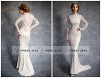 alan longing - 2016 Vintage Lace Wedding Dresses High Neck Long Sleeve Mermaid Sweep Train Alan Hannah Popular Garden Bridal Gowns Court Train
