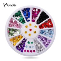 art colored stones - Glitter Nail Art Rhinestone Set wheel Mix Crystal Colored d Flowers Desgin Nail Tips Gems Stones Nail Beauty Decorations