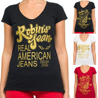Wholesale New Arrivals Womens Robin T Shirt Ladies Short Sleeve Shirts Cotton Tee Tops size S XXL Black White Red