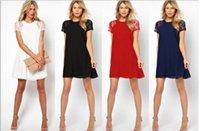 Cheap 2015 Summer spring women clothing lace short sleeve chiffon Underskirt sexy lace dress NYFA01