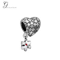 Wholesale Fits Pandora Bracelets Autism Awareness Heart Charm Dangle Love Red Crystal Charm Puzzle Beads For Diy Jewelry Bone Bracelet Necklace