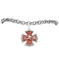 alloy badge materials - good quality a zinc alloy material rhodium color red enamel plated letter fire dept safe badge religious pendant rolo bracelets