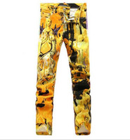 paintings mary - 2016 Hot Hiphop Punk Jeans Hiphop Graffiti Virgin Mary painted Pants zipper pocket Demin Jeans Robin Jeans for men Nightclub