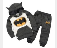Wholesale 2014 New Autumn Boys And Girls Batman Suits Baby Cartoon Hoodies Sets Children Suits Hoodies Pants Kids Clothing Inside Plush