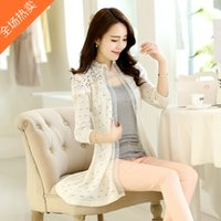 air conditioner s - Summer Cutout Lace Medium long Cape Cardigan Sunscreen Sweater Thin Air Conditioner Shirt