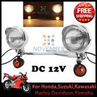 Wholesale Universal Motorcycle Cruiser Steel Passing Fog Spot Light Bar Motorbike Headlight With Bullet Turn Signal for Harley Davidson