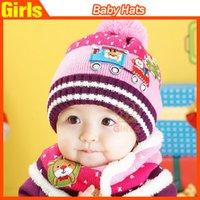 Chapéus carro brinquedo encantador Handmade Crianças Malha Chapéus com lenços Crochet menino e meninas malha chapéu Cachecóis duas partes ajustadas