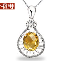 Cheap Natural citrine network Wife pure 925 silver jewelry pendant necklace female fashion accessories clavicle Korea