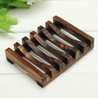 Wholesale Hot Hale Trapezoid x8x2 cm Wooden Handmade Bathroom Wood Soap Dish Box Container Tub Storage Cup Rack Durable