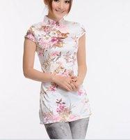 Wholesale The new ms summer wear tang suit coat short sleeve blouse peach blossom silk cheongsam