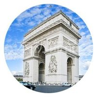 arc marketing - Building world famous Arc de Triomphe brooch badge night market stall selling crafts tourism resort