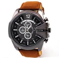 al por mayor mens relojes grandes caras-2015 Nueva llegada V6 FashionWristwatches Reloj de lujo de la cara grande del reloj de Mens del cuarzo ocasional Reloj Reloj de cuero del deporte de la venda