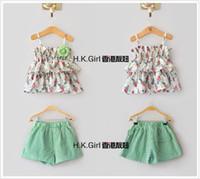 track suit - Children s Outfits flower strap top shorts flower print Tshirt fashion suit Girl track suit Leisure suit D157M