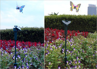 Wholesale Free DHL Christmas Gift Solar Battery Powered butterfly with wing romantic Solar Flying butterflies Patio Lawn Garden Decorations D710J