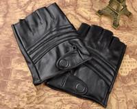fashion fingerless leather gloves - Fashion fingerless genuine leather glove for men and women goatskin cycling sports glove half finger bike riding gloves