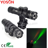 riflescopes red dot - Adjustable Red Green Dot Laser Sight mw Riflescopes Designator Illuminator Gun Flashlight With Mount Press Switch by CR123A