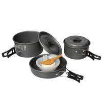 Cheap New Portable Outdoor Camping Cooking Set Anodised Aluminum Cookware Cooker Pot Pan Bowl Spoon Pinic Equipment for 2-3 people H14480