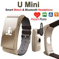 age car - 2 in Smart Watch Bluetooth Headphone U Mini Smartwatch Heart Rate Tracker Sports Wristwatch Headset Car Call for iOS Android Phones DHL