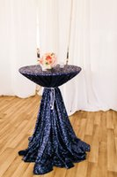 banquet tablecloths cheap - Cheap Mesh Navy Blue Sequin Fabric Tablecloth For Wedding Event Party Banquet Christmas Decoraitons